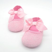 White Bowknot Baby Girl Lace Shoes Toddler Prewalker Anti-Sl