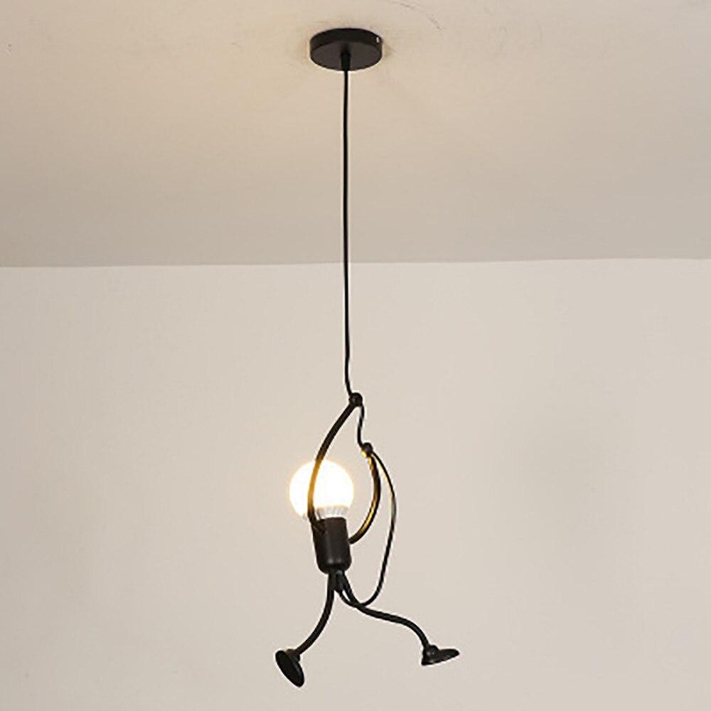 Minimaliste moderne charme suspendre lustre creative forgé fer méchant unique lustre lampe élégante stand noir 2019 nouveau