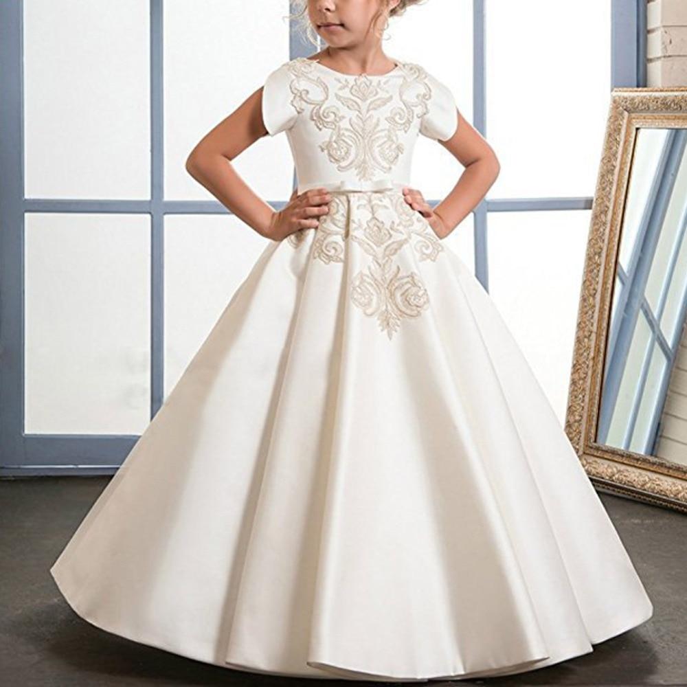 Élégant bébé enfant filles robe plissée balançoire à manches courtes longue robe de mariée princesse robe Vintage fleur broderie enfants robe
