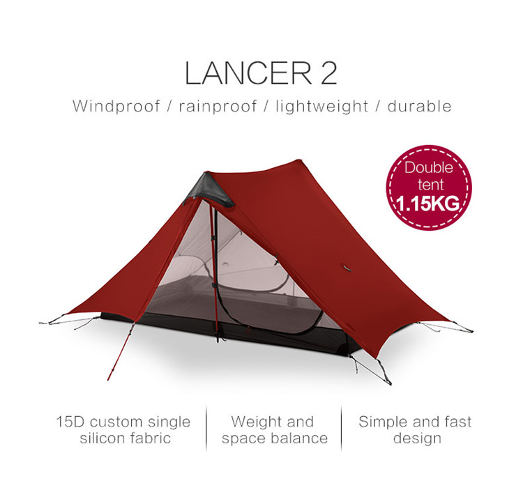 3F UL GEAR 2019 lanshan 2 Tent 2 Person Oudoor Ultralight Camping Tent 3 Season Professional 15D Silnylon Rodless Tent 4 Season