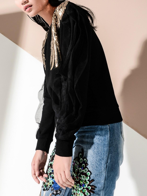 Fashion Sweatshirts Sequin Mesh Patch Women Detail Wing Long Sleeve O Black neck Fall Sweatshirt Panel qwH1wZ86