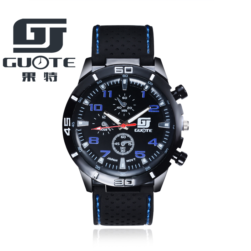 2017 New GUOTE Brand Men Sports Racing Quartz Watch Men Silicone Strap Military Wrist Watches Relogio Masculino Clock Hot Sale free shipping sports fashion silicone quartz watch men v6 brand hours big face wrist watch c6428