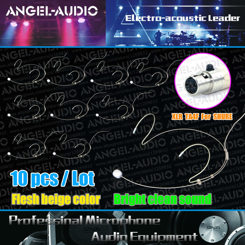 Free Shipping 10pcs Lot Mini XLR TA4F 4PIN Plug Headset Skin Color HeadWorn Microphone For SHURE