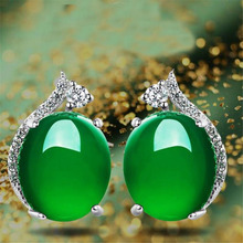 YKNRBPH New Product 925 Pure Silver Stud Earrings  Natural Green Chalcedony Fashion Simple Jewelry