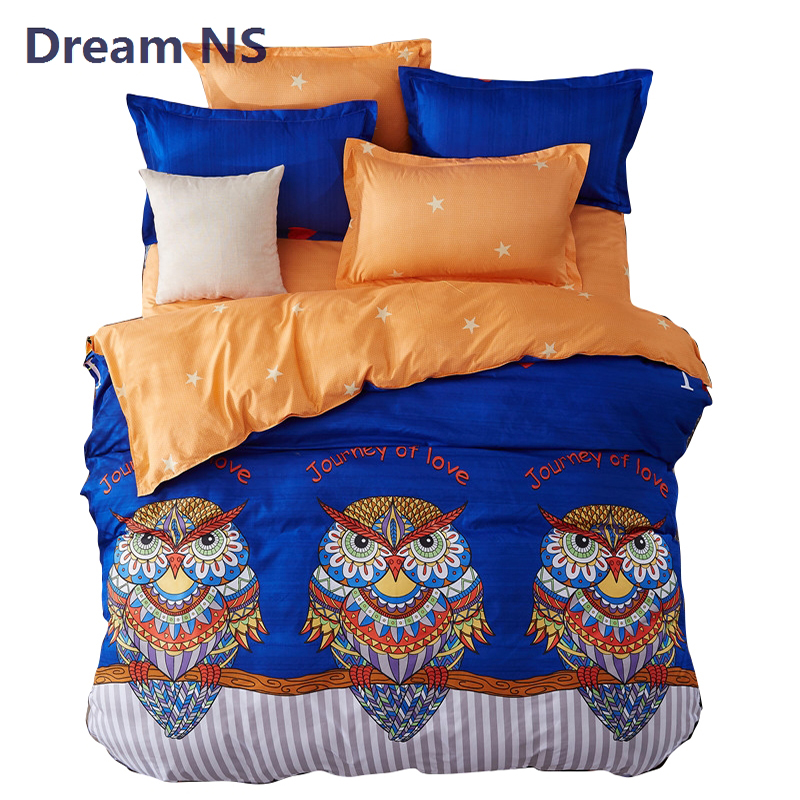 AHSNME Rainbow Owl Bedding Set Child Cartoon Bed Sets Couvre Lit 3pcs Bedspread King Queen Size for Double Bed Tribal Bedlinen