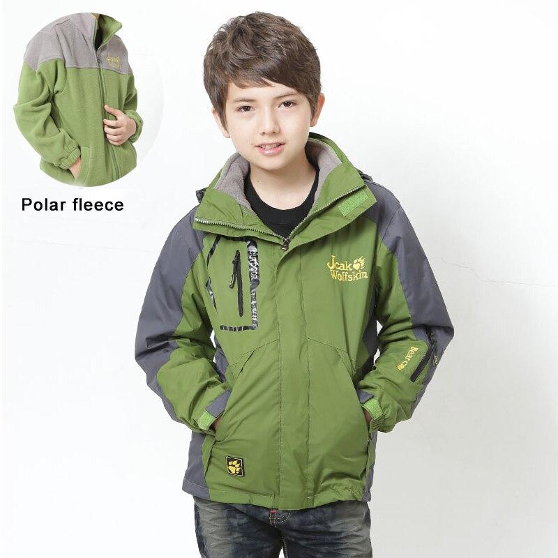 6 14 years 2 piece boy coat waterproof jacket fleece liner children coat autumn winter outdoor