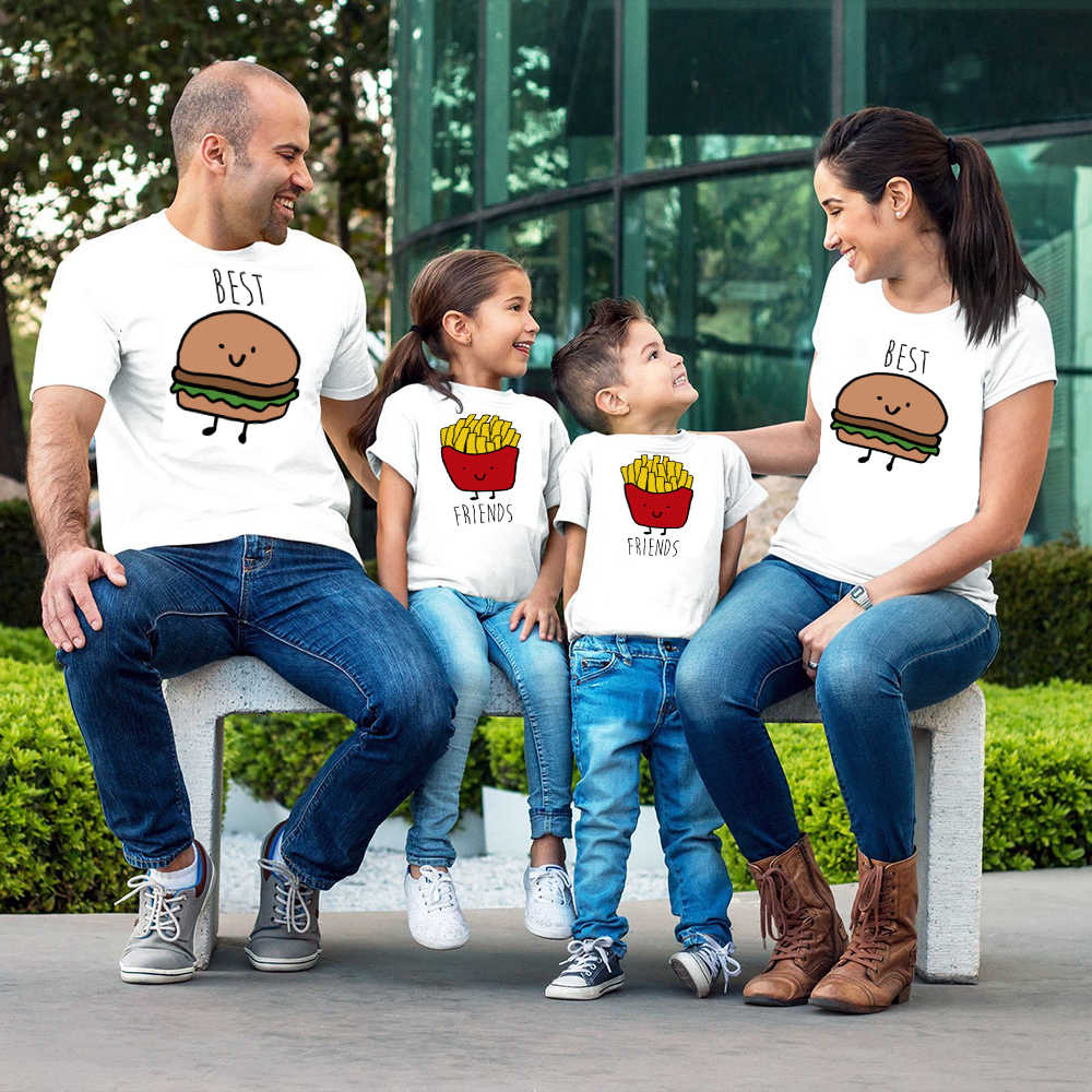 New Hamburg ชิปที่ดีที่สุดเพื่อนเสื้อยืดแม่พ่อเด็กแขนสั้นพิมพ์ Family Match เสื้อผ้าเสื้อยืด Tops เสื้อผ้า