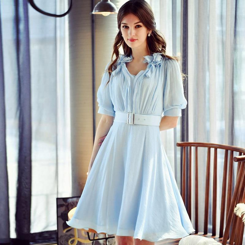Dabuwawa Dress Summer 2017 Fashion OL Short Sleeved Temperament V Neck Casual Belt Waist Dresses Women