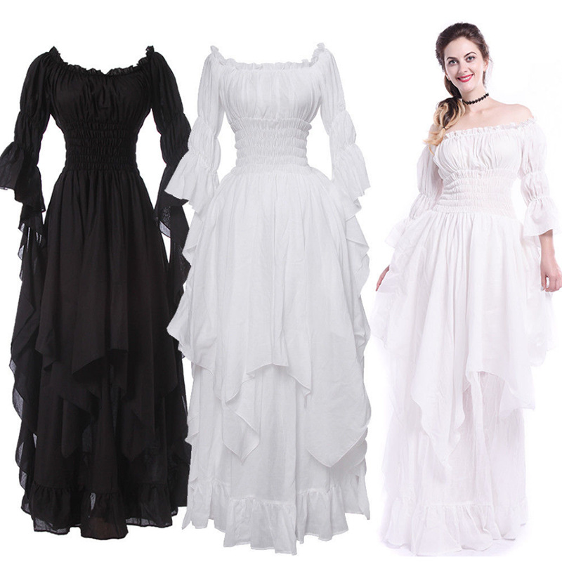 Women Medieval Dress Renaissance Vintage Style Gothic Dress Floor Length Women Cosplay Dresses Without Belt Medieval Dress Gown Plus Size Maxi Dress In Black and White
