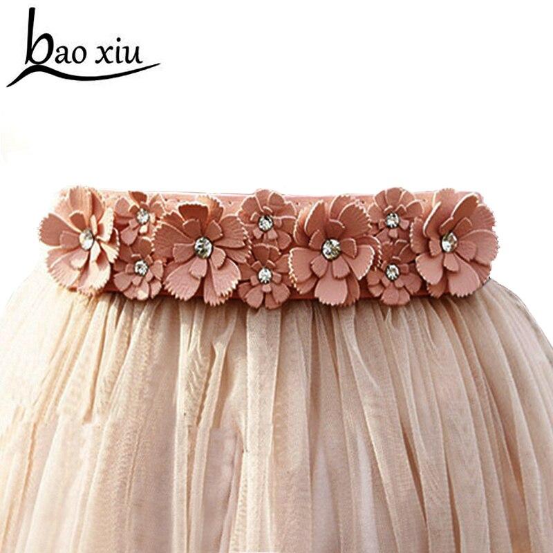 Fashion Sweet Flower Elastic Belts For Women Dress Skirt Decoration High Waist Rhinestone Wide Belts Female Girdle Accessories