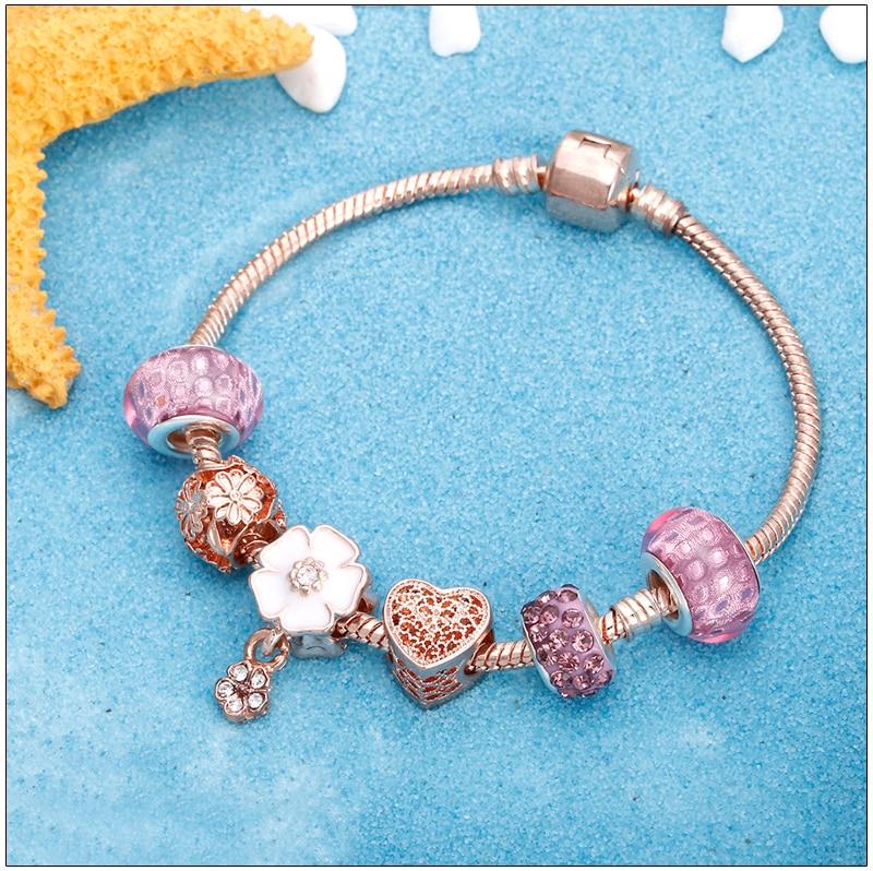 Rose Gold Bracelet Cherry Blossom Tassel Ball Crystal Bead Pendant Charm Trend Bracelets & Bangles For Women Jewelry Girl Gifts 6