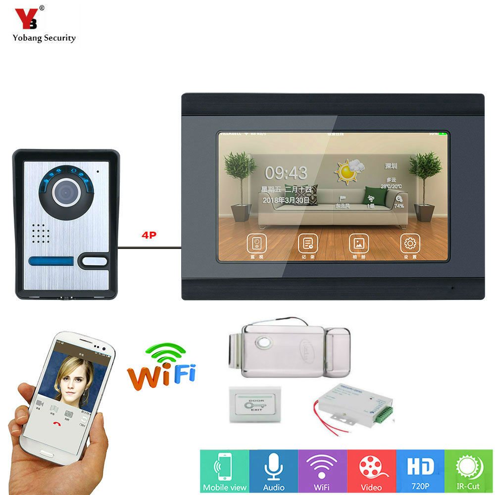 7inch Video Door Phone Doorbell Intercom Entry System HD monitor with Support Recording Snapshot Night Vision WIFI connect 8 APP 7 wifi ip video door phone doorbell intercom entry system with 1000tvl camera night vision support remote app unlocking record