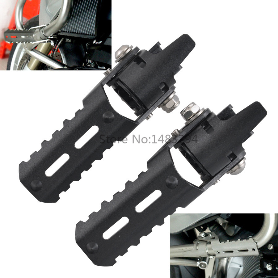 2 Pcs Black Highway Front Foot Pegs Pedals Footrest For B M W Pipes Triumph Tiger