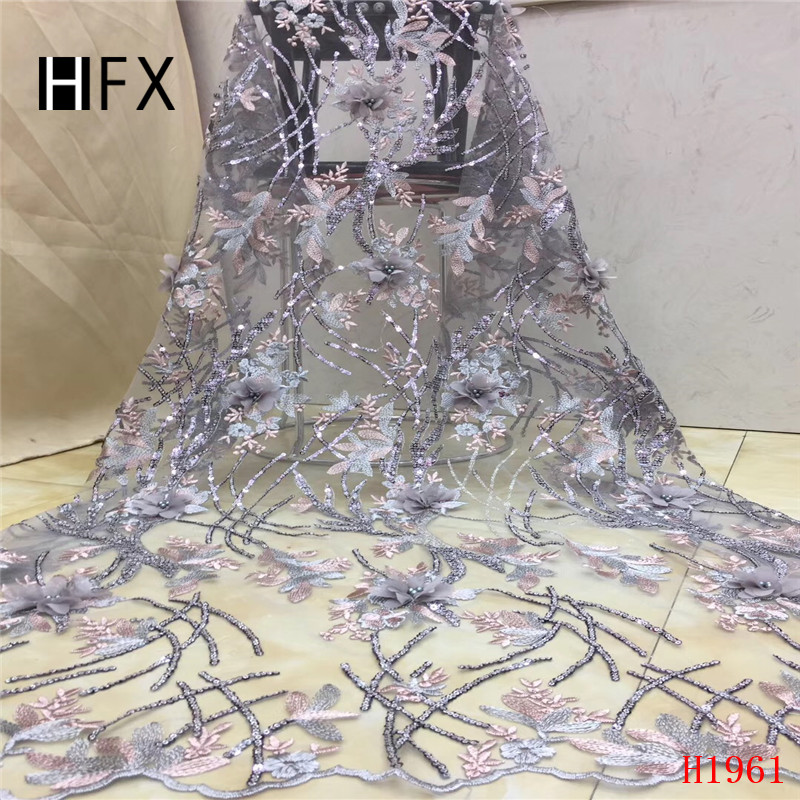 HFX Beaded Lace Fabric African Nigeria Embroidered Powder Blue/Grey 3d Flowers Tulle Lace High Quality Sequin Lace Fabric X1961HFX Beaded Lace Fabric African Nigeria Embroidered Powder Blue/Grey 3d Flowers Tulle Lace High Quality Sequin Lace Fabric X1961