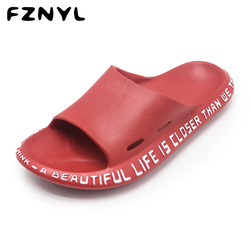 FZNYL 2019 Fashion Slippers Men Women Summer Outdoor Slides Shoes Male EVA Soft Comfortable Non-slip Beach Flip Flops Sandals