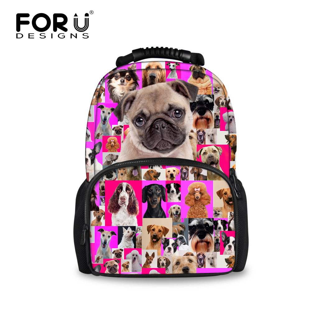 Forudesigns Children Animal Bagpack Cute Pug Dog Printing School