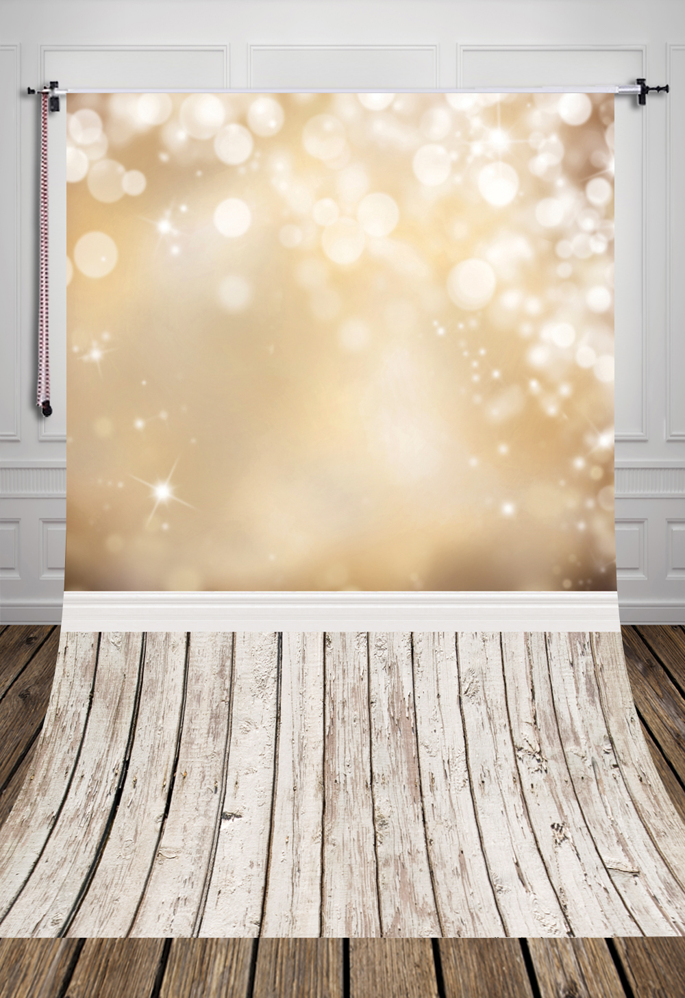 5x7ft (1.5x2.2m) golden bottom glitter bokeh and white wood floor printed studio photography backdrops backgrounds D-040