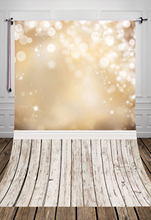 5x7ft (1.5×2.2m) golden bottom glitter bokeh and white wood floor printed studio photography backdrops backgrounds D-040