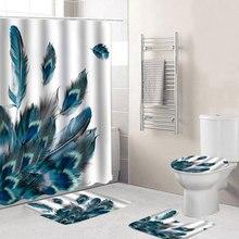 4 шт павлиньи перья, водостойкая занавеска для ванной комнаты, покрытие для унитаза, нескользящий коврик для пола, коврик для ванной комнаты, набор с 12 крючками