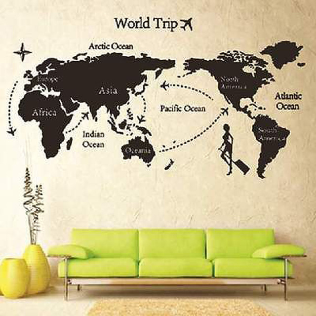 pegatinas de pared diy trip world map negro letras cotizacin del arte del vinilo la decoracin