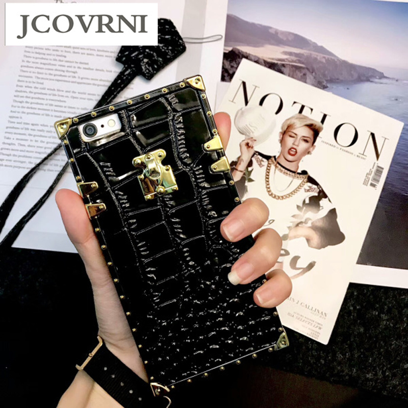 JCOVRNI Crocodile pattern TPU + luxury leather for iPhone7plus Mobile phone cover for iPhone6 7 8 plus phone case with lanyard