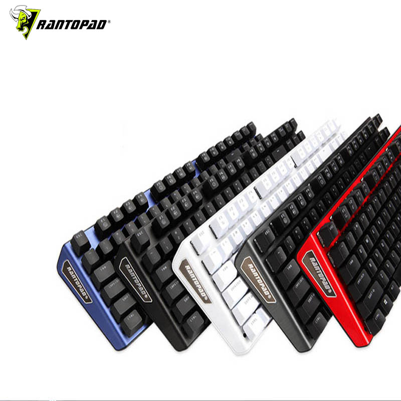 Rantopad MXX black white PC computer game mechanical keyboard 87 key luxury black aluminum cover USB