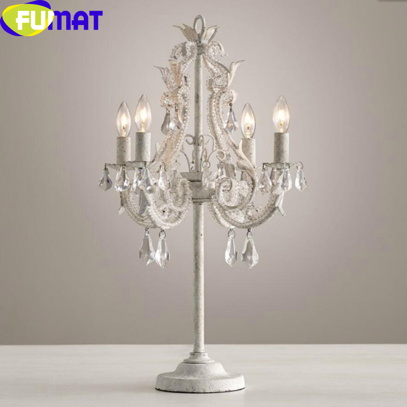 FUMAT Classical Crystal Table Lights Vintage Craft Iron Led Lamp for Bedroom Study Room Lampada da tavolo Lampe de table