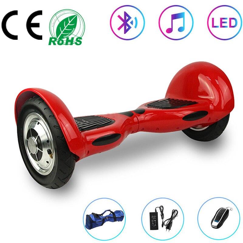 Hoverboard 10 pouces rouge véritable auto-équilibrage Scooter électrique Scooters 2 roues Balance Skateboard Bluetooth + télécommande + sac
