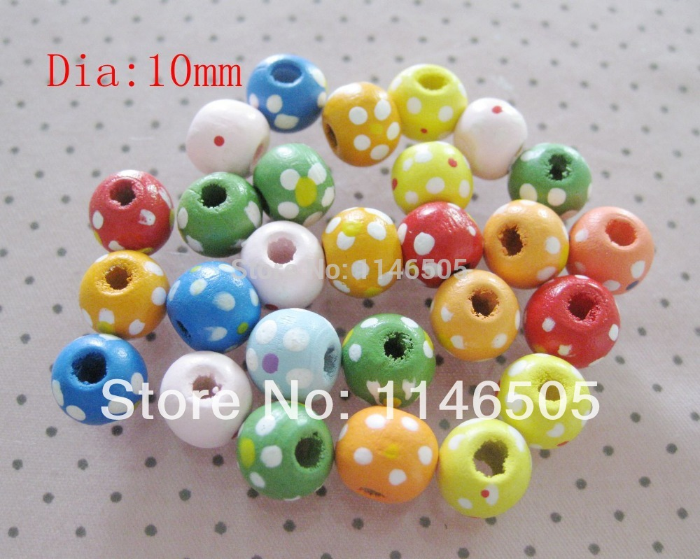 Craft beads in bulk - 200pcs Natural Wood Beads 10mm Button Printed Sewing Bulk Clothing Children Decoration Craft