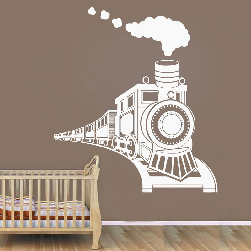 Cartoon Train Wall Decal For Baby Kids Boy 39 s Bedroom Toy Train Vinyl Wall Sticker Nursery Room Decoration DIY K534 in Wall Stickers from Home amp Garden