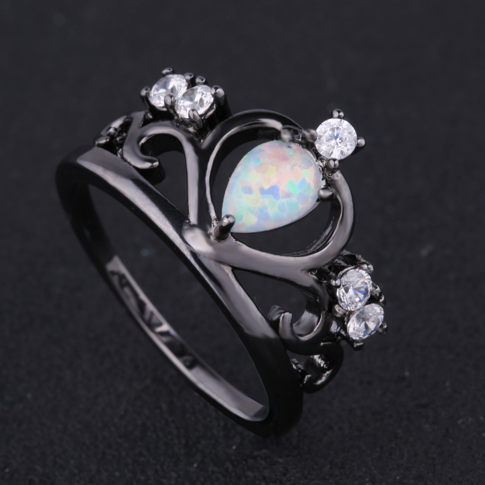 New Arrival Black Gun Plated Elegant Crown Shaped Fire Opal Ring With Aaa  Cubic Zircon Best
