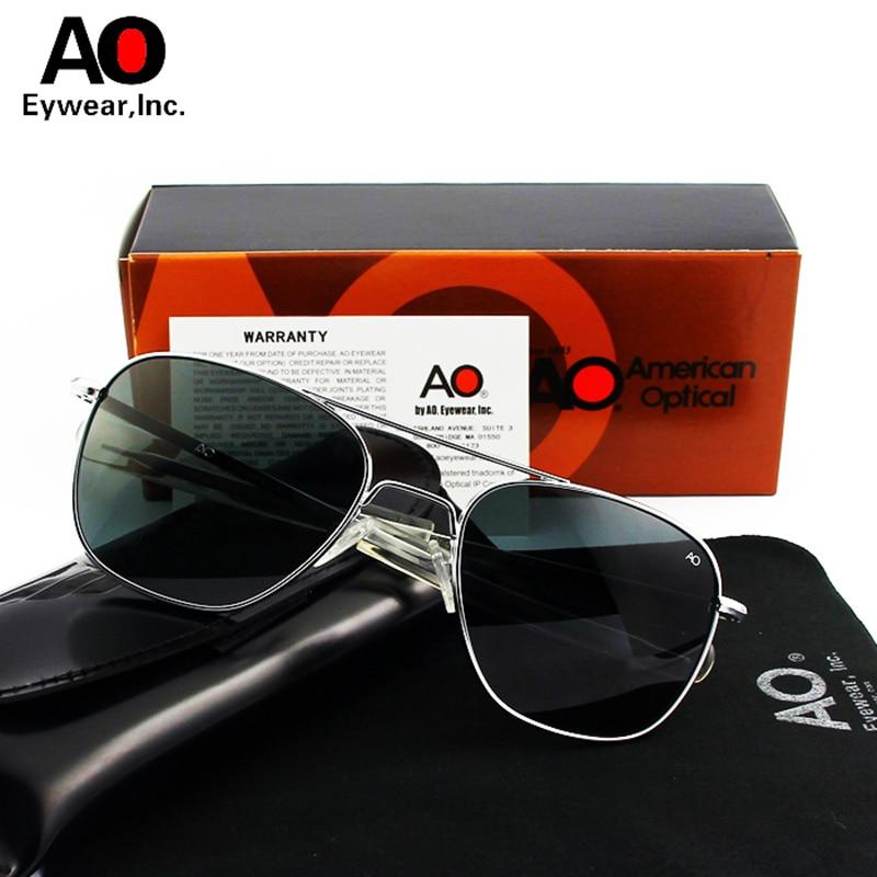 Ao aviação óculos de sol homem com caixa original pano de limpeza retro vintage americano óptica gafas sol hombre