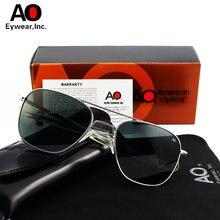 Ao aviação óculos de sol para homem vintage retro marca designer óculos com caixa original americano óptica gafas de sol hombre