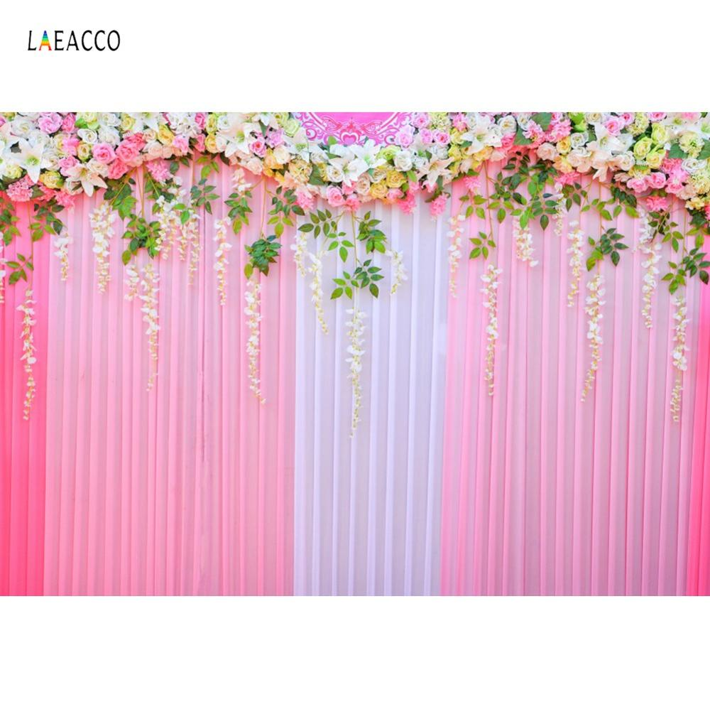 Photography Backdrop Wedding Blossom Flowers Tassel Curtain Party Ceremony Birthday Baby Portrait Stage Photographic Background