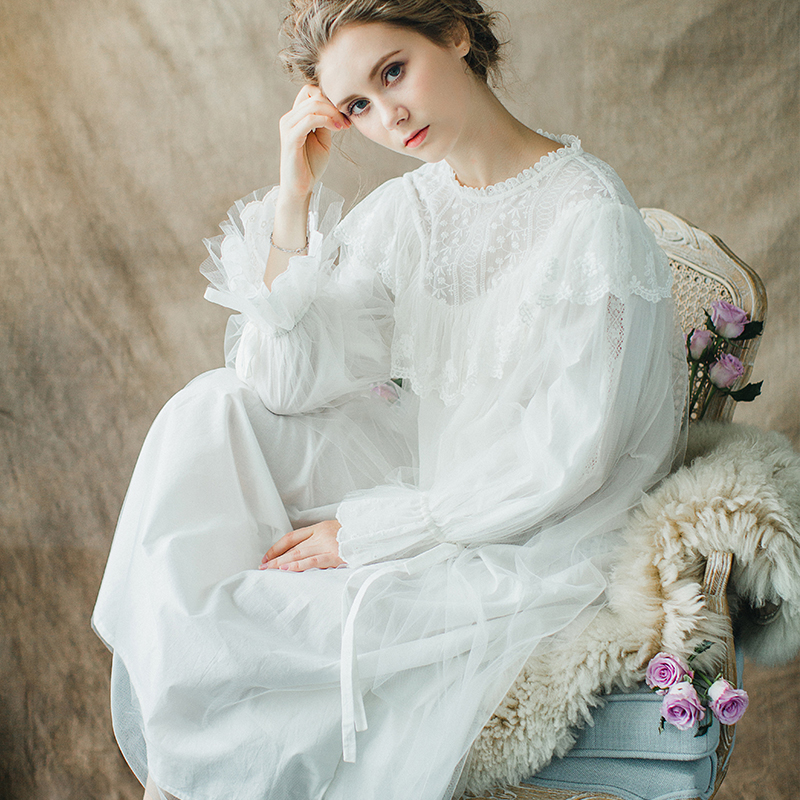 2018 autumn palace female cotton nightgown long sleeved lace nightdress  elegant french court retro romantic princess dress sleep ee86a424245a