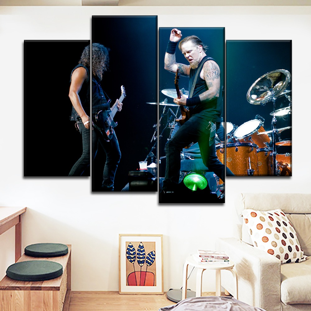 Wall Art Canvas Painting 4 Panel Music Metallica Rock Band Posters Modern Printed Type Pictures Modular Artwork Home Decorative
