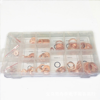 Metric 150pcs Copper Ring Gaskets Flat Washer Set Seal Assortment Kit With Box For Hardware Accessories