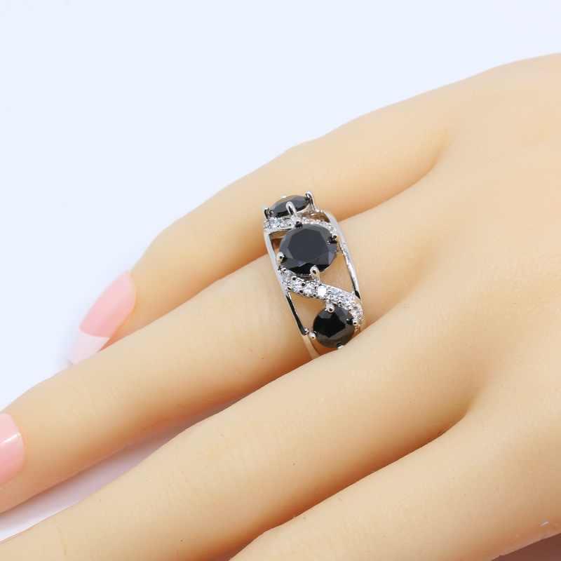 ด้านคุณภาพ925เงินสีดำเพทายชุดเครื่องประดับสำหรับผู้หญิงต่างหูแหวนจี้และสร้อยคอโซ่ฟรีกล่องของขวัญT07