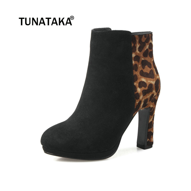Suede Platform Square High Heel Woman Leopard Ankle Boots Fashion Side Zipper Dress Ladies Boots Black leopard panel side leggings