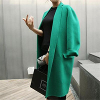 Hot sale 2018 Autumn Winter New Style Fashion Mid Long Green Woolen Jacket Casual Loose Female Blends Coat