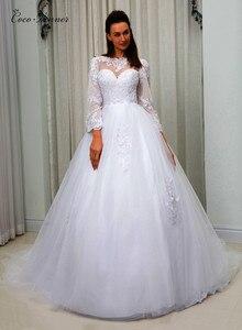 Lace Vintage Wedding Dress Applique Ball Gown vestido de noiva Court Train Long Sleeve Custom Made wedding-dress W0074