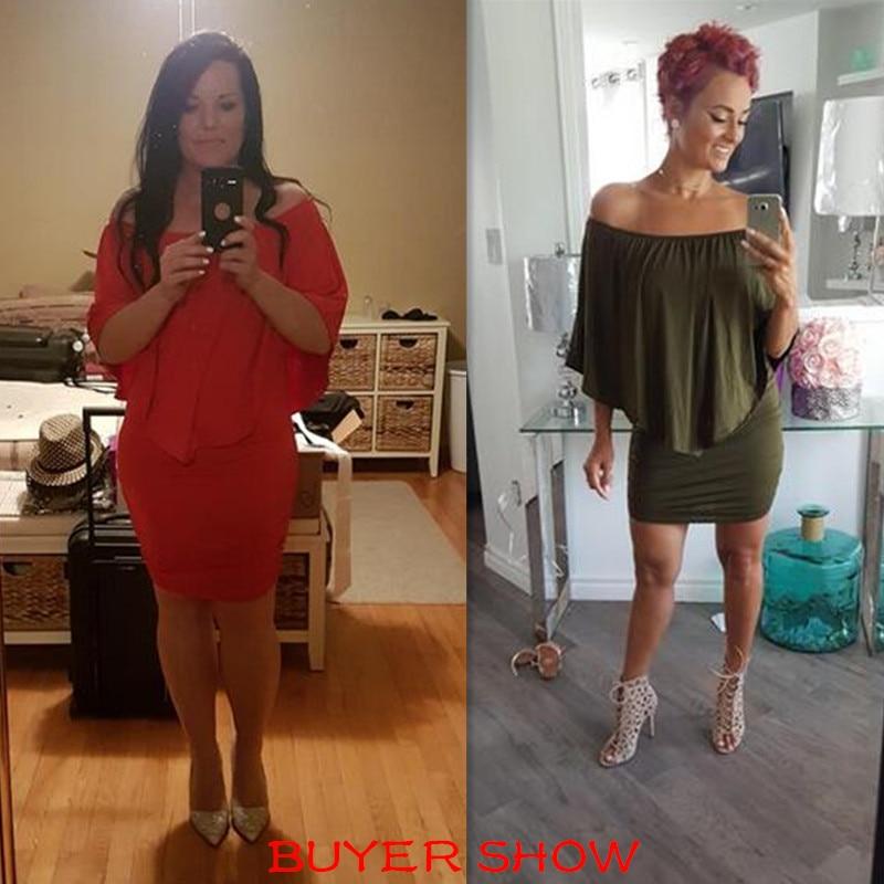 LIVA GIRL 2019 Mujer Vestido de Tallas Grandes Rojo Fuera del Hombro - Ropa de mujer - foto 5