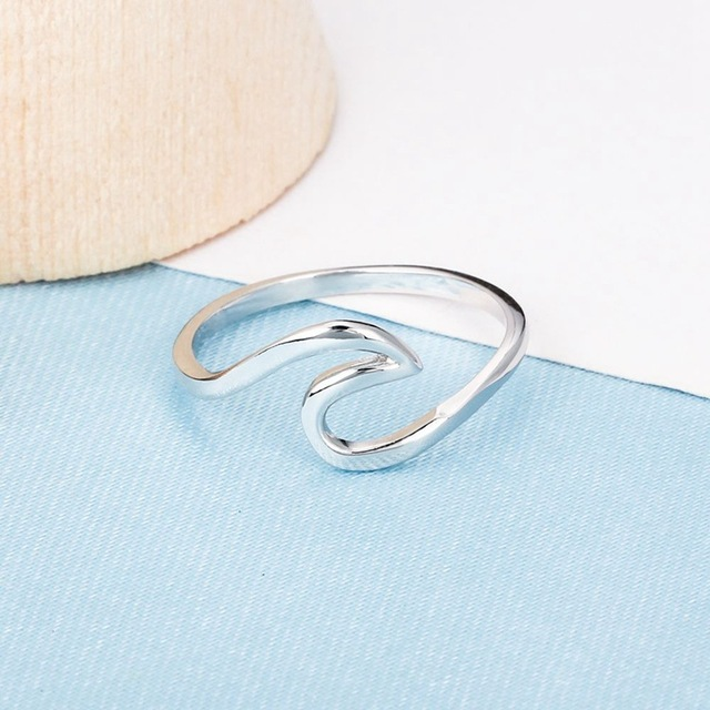 Silver Wave Promise Ring Real 925 Sterling silver