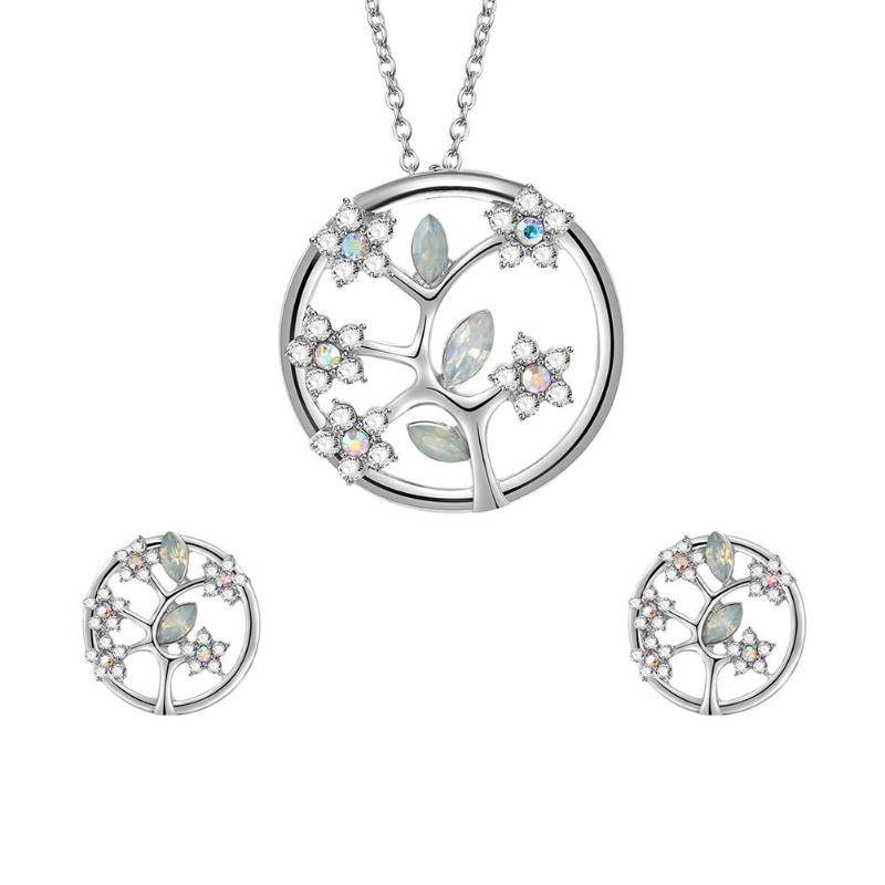 Fashion Women Jewelry Sets Rhinestone Round Tree Necklace Earrings Gift Wedding Accessories Turkey Jewelry