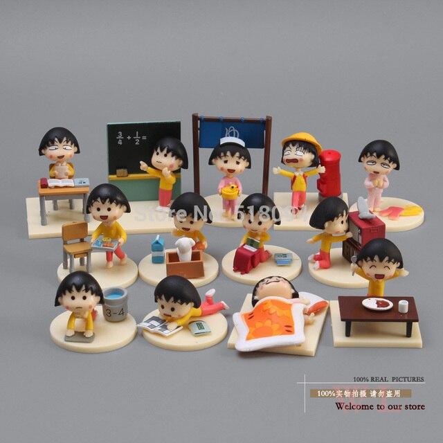 Free Shipping Anime Cartoon Chibi Maruko Sakura Momoko Happy Day PVC Action Figure Toys Dolls 13pcs/set CMFG002