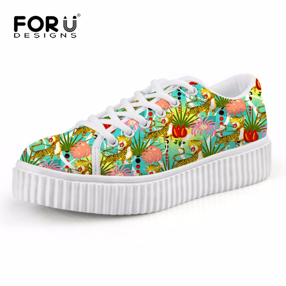 FORUDESIGNS Height Increasing Women Casual Flats Shoes Autumn 3D Tropical Fashion Design Women's Platform Shoes Female Creepers forudesigns fashion women height increasing flats shoes 3d pretty flower rose printed casual high top shoes for female platform