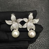 11 12 мм натуральный пресноводный жемчуг серьги Висячие edison Pearl 925 серебро с фианит цветок серьги проложить