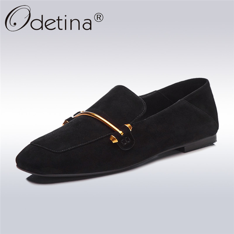 Odetina 2018 New Fashion Genuine Leather Flats For Women Square Toe Elegant Slip On Shoes Soft Insole Ballet Flat Loafer Shoes 2017 new fashion women summer flats pointed toe pink ladies slip on sandals ballet flats retro shoes leather high quality