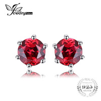 JewelryPalace Round 1.2ct Natural Red Garnet Earrings Solid 925 Sterling Silver Earring Stud 5X5mm Fashion Jewelry High Quality