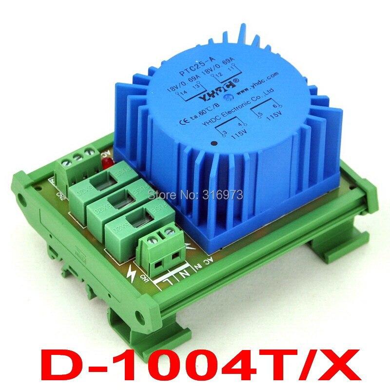 P 230VAC, S 2x 18VAC, 25VA DIN Rail Mount Toroidal Power Transformer Module.